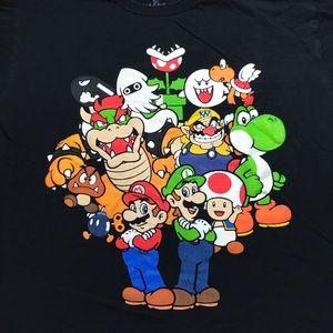 Super Mario and Villains Black T-Shirt L